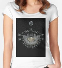 Moon and Stars Night Sky Mountain Range Arrow Mandala Women's Fitted Scoop T-Shirt