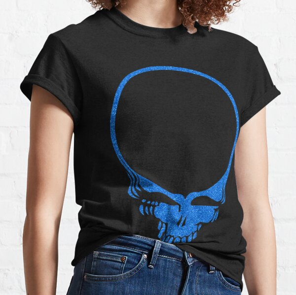 Skull Print with Blue Lava Plasma Texture Classic T-Shirt