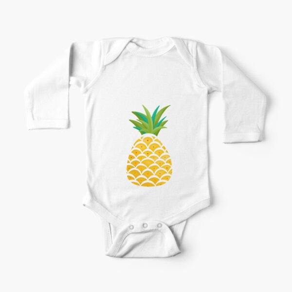 Bright White hand drawn pineapples Long Sleeve Baby One-Piece