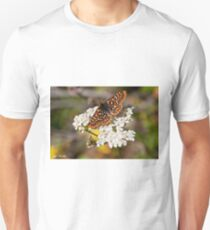 Checkerspot Butterfly on a Yarrow Blossom T-Shirt
