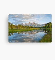 Teton Range Reflected in the Snake River Canvas Print