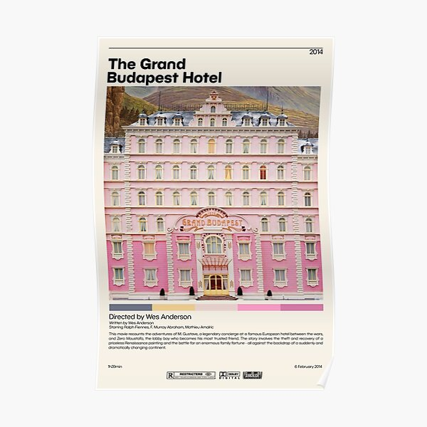 The Grand Budapest Hotel | Wes Anderson , Minimalist Movie Poster, Vintage Retro Art Print, Custom Poster, Wall Art Prin, Home Decor Poster