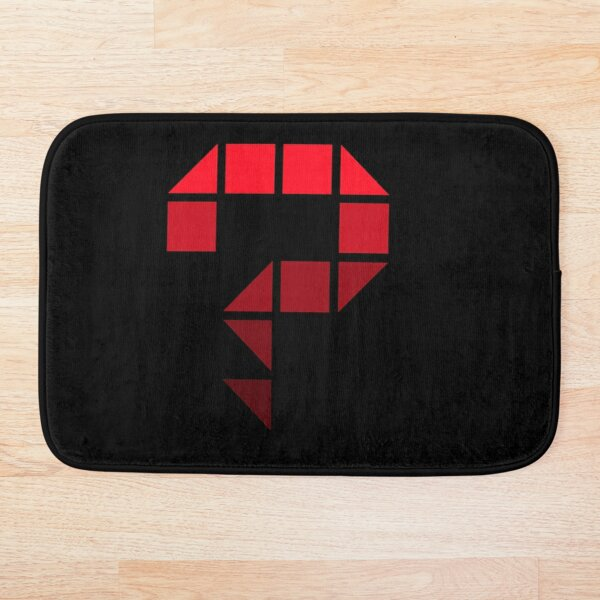 One big question mark with a pixel style (red) Bath Mat