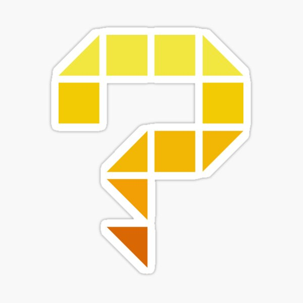 One big question mark with a pixel style (yellow) Sticker