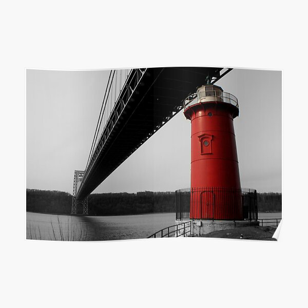 Little Red Light House - Background B&W Poster