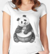 Panda playing percussion G140 Women's Fitted Scoop T-Shirt