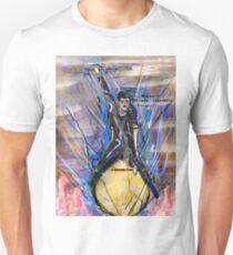 Nikola Tesla Riding The Light Bulb inverted background T-Shirt
