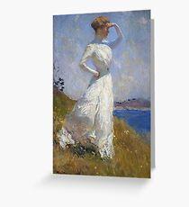 Frank Weston Benson - Sunlight. Woman portrait: sensual woman, girly art, female style, pretty women, femine, beautiful dress, cute, creativity, love, sexy lady, erotic pose Greeting Card