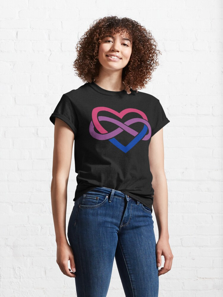 Alternate view of Bisexual Polyamory Infinity Heart (Black) Classic T-Shirt