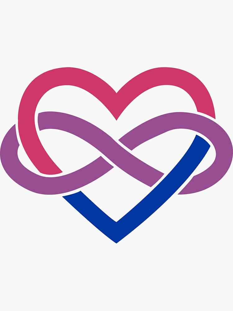 Bisexual Polyamory Infinity Heart (White) by polyphiliashop