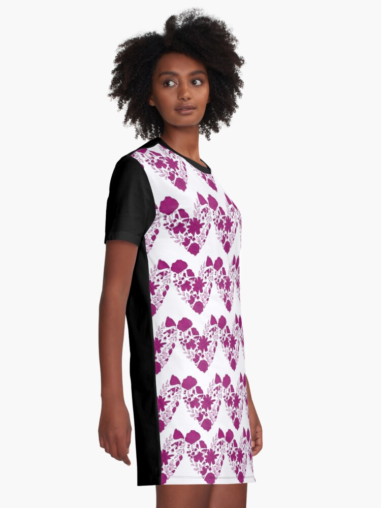 Alternate view of Pink Hearts Pattern Graphic T-Shirt Dress