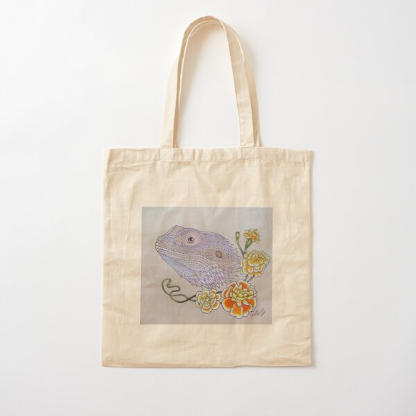 Bearded Dragon Flowers  Cotton Tote Bag