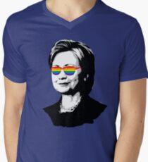 Hillary Rainbow Glasses Men's V-Neck T-Shirt