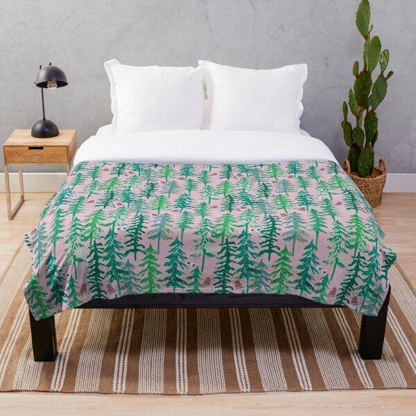 Where's Sasquatch? Designer Print Pink Green Fir Pine Trees Yeti Big Foot Throw Blanket