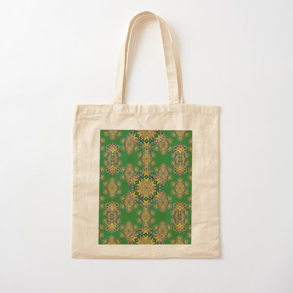 Hummingbird_trumpet_flower_kaleidoscope7_green Cotton Tote Bag