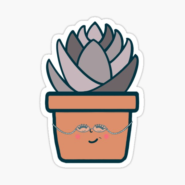 """Cute Potted Plant - """"Agnes"""" Glossy Sticker"""