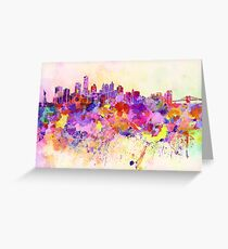 New York skyline in watercolor background Greeting Card