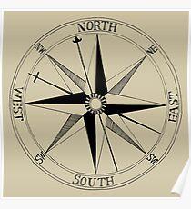 Antique Compass Rose Poster
