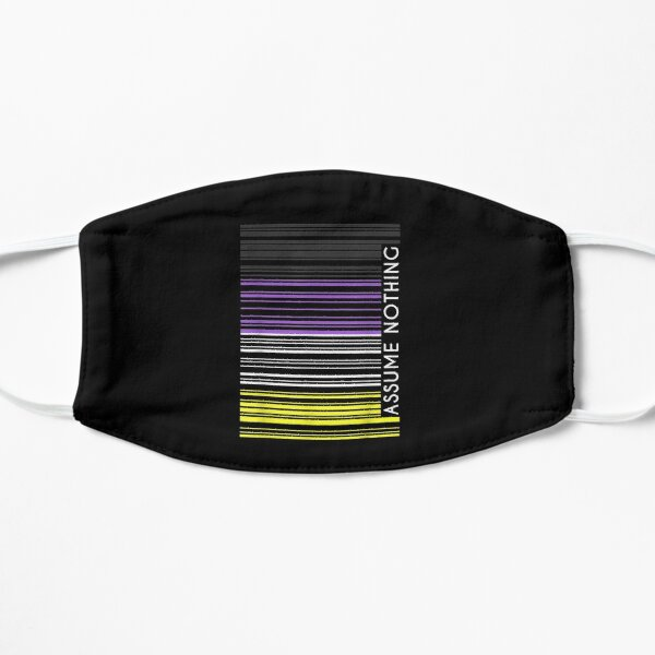 Assume-Nothing-Nonbinary-Flag-Barcode-Enby-Genderqueer-Lgbt Flat Mask