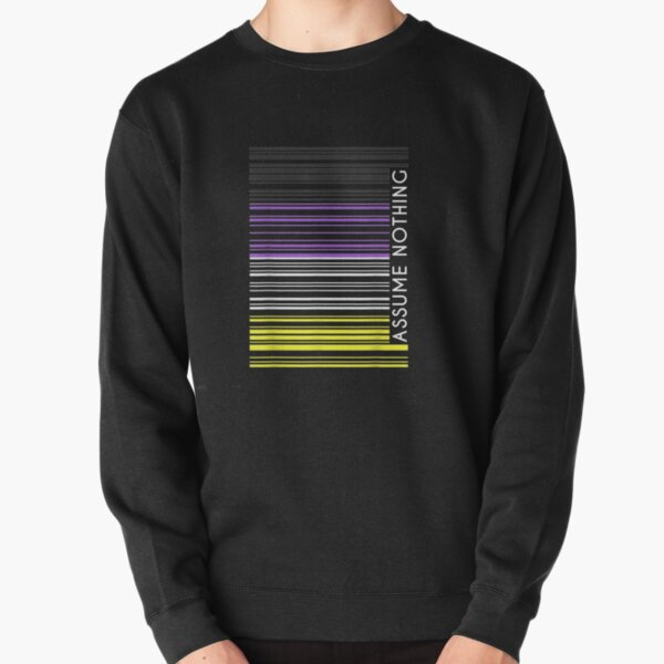 Assume-Nothing-Nonbinary-Flag-Barcode-Enby-Genderqueer-Lgbt Pullover Sweatshirt