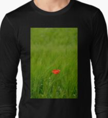 Poppy in Wheat Field Long Sleeve T-Shirt
