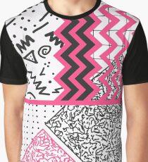 Retro 80's 90's Neon Pink Black White Scribbles Graphic T-Shirt