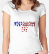 Independence Day Words With USA Flag Texture Women's Fitted Scoop T-Shirt