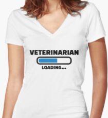 Veterinarian loading Women's Fitted V-Neck T-Shirt