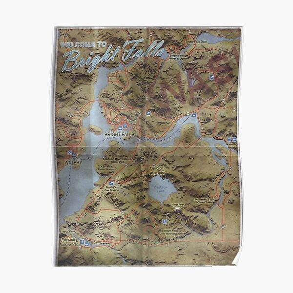 Alan Wake Map (Bright Falls) Poster