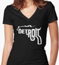 Detroit Gun Women's Fitted V-Neck T-Shirt
