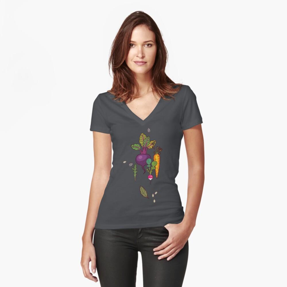 Gärtnertraum Tailliertes T-Shirt mit V-Ausschnitt