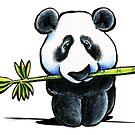 Panda with Bamboo by offleashart