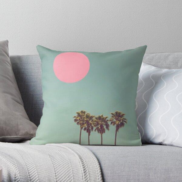 Palmen rosa Sonne Retro Dekokissen