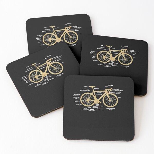 Bicycle-Cycling-Anatomy-Road-Bike-Parts-Biking-Cyclist Coasters (Set of 4)