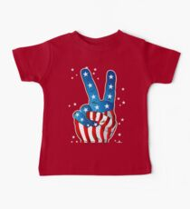 American Patriotic Victory Peace Hand Fingers Sign Baby Tee