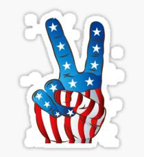 American Patriotic Victory Peace Hand Fingers Sign Sticker