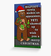 Funny Bigfoot Christmas Yeti Pun Cartoon Greeting Card