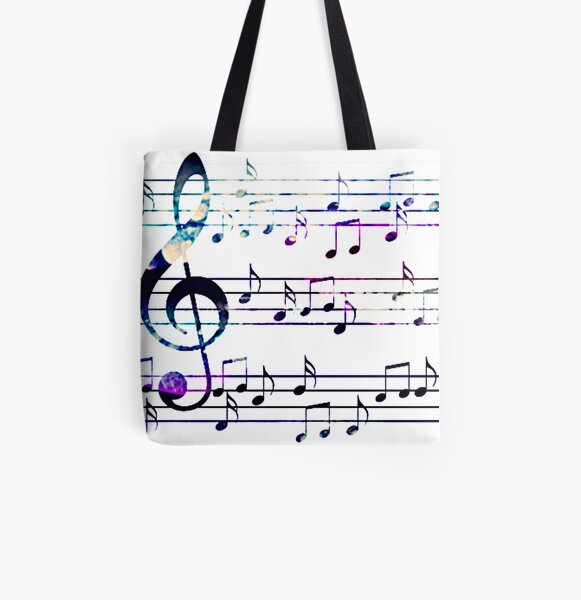 Music Notes All Over Print Tote Bag