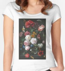 Jan Davidsz De Heem - Still Life With Flowers In A Glass Vase. Still life with fruits and vegetables: fruit, vegetable, grapes, tasty, gastronomy food, flowers, dish, cooking, kitchen, vase Women's Fitted Scoop T-Shirt