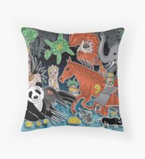 the litle farm Throw Pillow