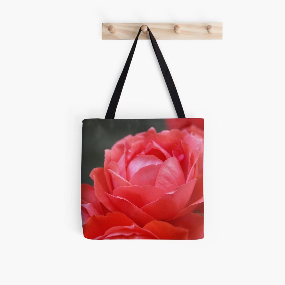 Coral Red Roses Tote Bag