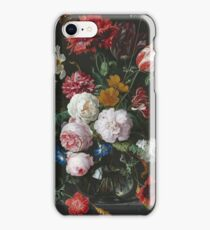 Jan Davidsz De Heem - Still Life With Flowers In A Glass Vase. Still life with fruits and vegetables: fruit, vegetable, grapes, tasty, gastronomy food, flowers, dish, cooking, kitchen, vase iPhone Case/Skin