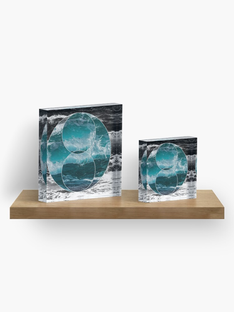 Alternate view of Waves Polyscape Acrylic Block