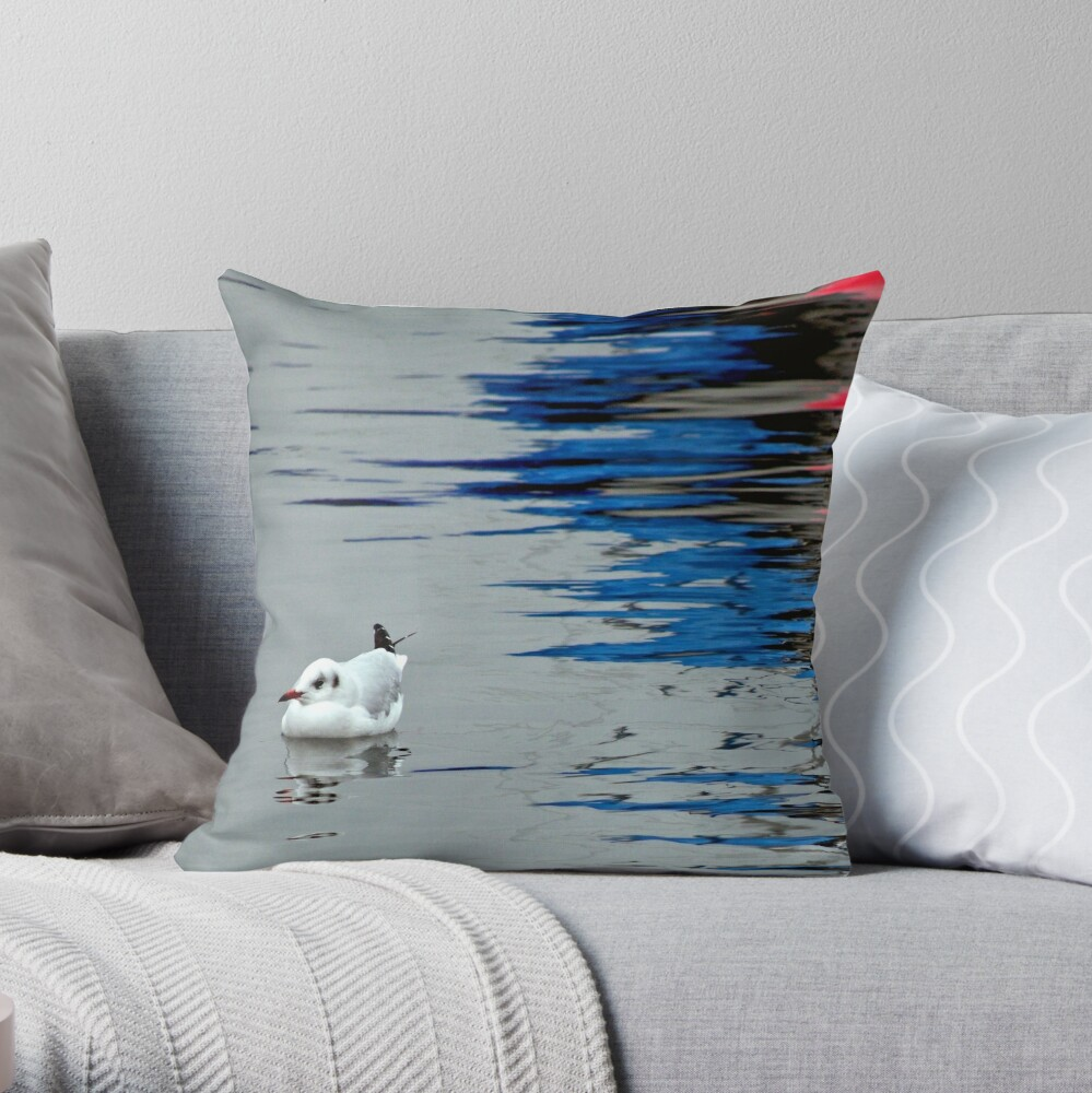 Gull with Reflections Throw Pillow