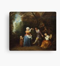 Jean-Antoine Watteau - The Country Dance.Family portrait: father and son, mother and daughter, female and male, dad daddy, child baby, beautiful dress, lovely family, mothers day, memory, mom, friends Canvas Print