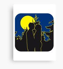 full moon romance love couple love couple Canvas Print