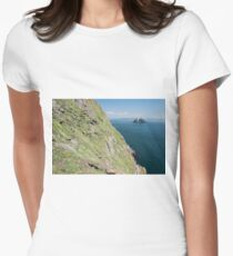 Skellig Michael, UNESCO World Heritage Site, Kerry, Ireland. Star Wars The Force Awakens Scene filmed on this Island. wild atlantic way Womens Fitted T-Shirt