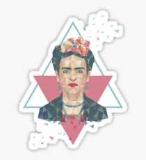 Pastel Frida - Geometric Portrait with Triangles Sticker
