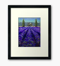 Plein Air Lavender Landscape and Farm House Impressionistic Painting Framed Print
