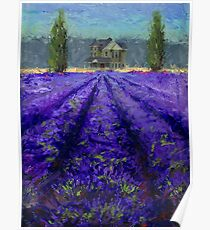 Plein Air Lavender Landscape and Farm House Impressionistic Painting Poster
